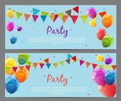 ilustração vetorial de fundo de festa com bandeiras e balões vetor