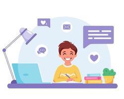 menino estudando com o computador. aprendizagem online, de volta ao conceito de escola. vetor