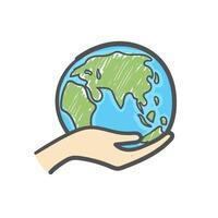 mão segurando o ícone de doodle desenhado de mão do globo. cuidados com a ecologia e conceito ecológico. vetor