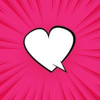 discurso de bolha de coração rosa com estilo pop art vetor