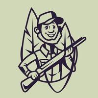 caçador com rifle. arte conceitual de caça em estilo monocromático. vetor