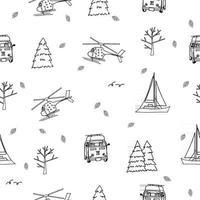 preto e branco repetir padrão sem emenda de helicóptero, iate, ônibus de viagem, árvores, árvores de natal, folhas em fundo branco para livro de colorir vetor