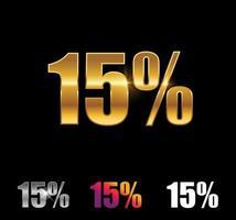sinal de 15 por cento dourado e prateado vetor