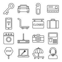 pacote de ícones lineares de acessórios de hotel vetor