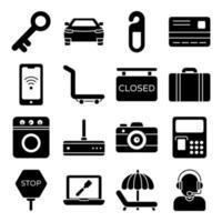 pacote de ícones sólidos de acessórios de hotel vetor