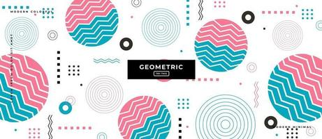 fundo de corte do círculo geométrico do estilo memphis. vetor