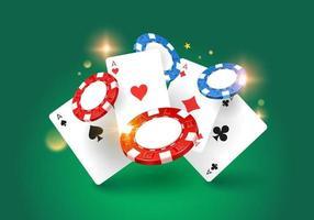modelo de design de casino de jogo. fichas voadoras e cartões de cassino. isolado. fundo. ilustração vetorial vetor