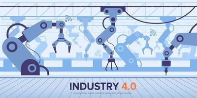 fábrica da indústria 4.0 com braço robótico revolução industrial inteligente vetor