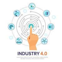 dedo escolher na indústria inteligente 4.0 de inteligência artificial. vetor