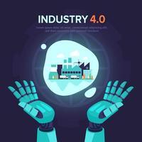 conceito abstrato da indústria 4.0 de mão robótica inteligente vetor