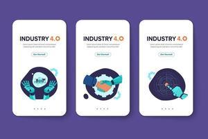 cartão indústria 4.0 com braço robótico revolução industrial inteligente vetor