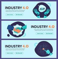 banner da indústria 4.0 com braço robótico revolução industrial inteligente vetor
