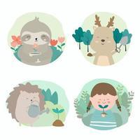 campanha animal ajuda plantar florestas a reduzir o aquecimento global vetor