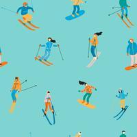 Ilustração do vetor dos esquiadores e dos snowboarders. Padrão sem emenda