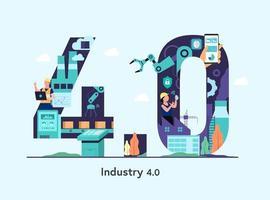 banner da indústria 4.0 com braço robótico. numérico industrial inteligente vetor