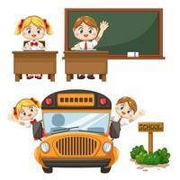 conjunto de crianças com uniforme de estudante de volta à escola vetor