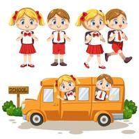 conjunto de crianças adoráveis em uniforme de estudante de volta às aulas vetor
