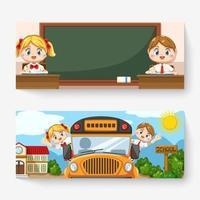 banner atividade de crianças em uniforme de estudante de volta às aulas vetor