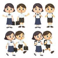 conjunto de crianças com uniforme de estudante e bolsa vai para a escola vetor