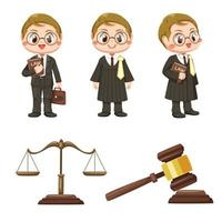 equipe de juízes em vetor de personagem de desenho animado