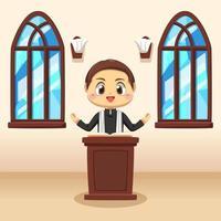 jovem padre católico em ilustração vetorial de desenho animado vetor