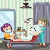 jovem cliente em salão de beleza com procedimento de manicure e cosmetologia vetor