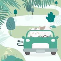 gato dirigir um carro ecológico transporte ecologicamente correto vetor