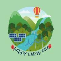 feliz dia da terra e energia renovável do dia mundial do meio ambiente vetor