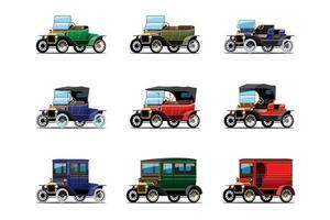 conjunto de carros antigos antigos isolado no fundo branco vetor