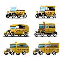 definir maquete de carro de táxi antigo em vetor de design de estilo retro