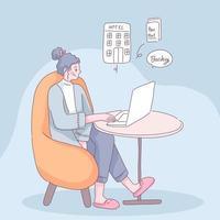jovem usa pesquisa de laptop por hostel para fazer reserva online vetor