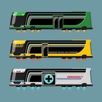 conjunto de maquete de ônibus de alta tecnologia com estilo moderno vetor