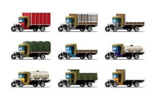 definir maquete de caminhão e tanque em vetor de design de estilo retro