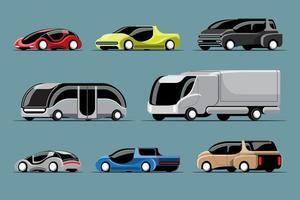 conjunto de carros de alta tecnologia em vetor de design moderno