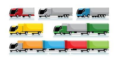 conjunto de caminhão hitech e reboque em vetor de design moderno
