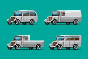 definir maquete de carro antigo em vetor de design de estilo retro