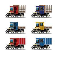 definir maquete de caminhão em vetor de design de estilo retro