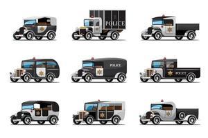 conjunto de três tipos de carros de polícia em design vintage vetor