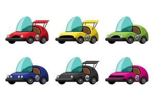 conjunto de carro de corrida conversível em design vintage vetor