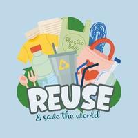 cartaz resíduos poluição ambiental do vetor dos desenhos animados do conceito de plástico