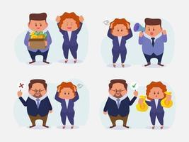 conjunto de empresário e jovem trabalhadora com sentimento de diferença vetor