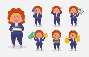 conjunto de mulher de negócios em vetor de desenhos animados de poses diferentes