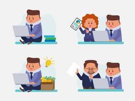 conjunto de empresário trabalhando em casa e trabalho em equipe no escritório vetor