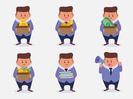conjunto de empresário em diferentes poses vetor dos desenhos animados