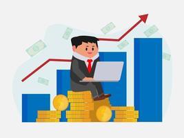 empresário usando laptop e gráfico mostrando crescimento em segundo plano vetor
