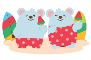 amante de ratos com sorvete de frutas na praia vetor