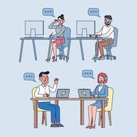operadores de call center no trabalho, mulher e homem com fones de ouvido e microfone com laptop para suporte ao cliente, ajuda, central de atendimento. vetor