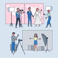 estúdio fotográfico. fotógrafos profissionais trabalham e fotografam casamentos em estúdio. ilustração em vetor plana dos desenhos animados.