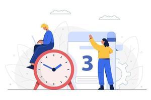 a gerência analisa o plano de negócios da empresa e define a data de início do projeto. vetor