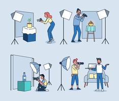 estúdio fotográfico. fotógrafos profissionais trabalham e disparam produtos em estúdio. ilustração em vetor plana dos desenhos animados.